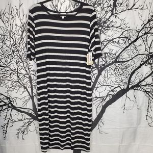 LuLaRoe Julia Dress Black & White Striped Midi XL